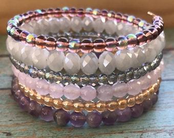 Purple Beaded Wrap Bracelet, Wire Wrap Bracelet, Glass Beads, Faceted Beads, Stacked Bracelet, Onesize, Memory Wire, Flexible Bracelet