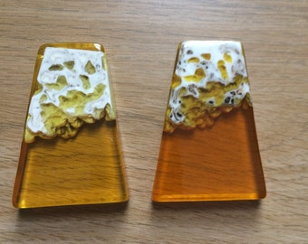2 x Resin Trapezoid Pendants 58mm x 41mm Yellow/Orange
