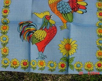 Vintage Linen Dish Towel Roosters & Sun Flowers Theme  18 - 933