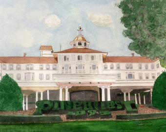 PINEHURST print of watercolor by Robert Martin