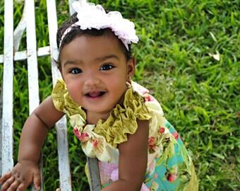 Pink Hair Bow-Baby Headband-Ruffled Pink Lace-Infant Headband-Hair Bow