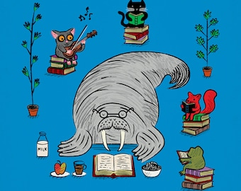 Quiet Time - walrus animal art poster print by Oliver Lake - iOTA iLLUSTRATiON