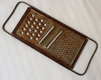 Metal Hand Held Grater, Slicer All in One Kitchen Tool Vintage  1950's  Rusty Cottage Decor