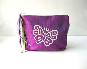Purple Butterfly make up pouch purple white silk cosmetic pouch. purple butterfly