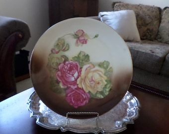 """Z & S and Company Bavaria- Elegant/Fancy Roses 11 1/2"""" Cabinet Plate/Dish-Brown/Pink"""