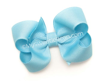 "Blue Bow, 3 inch Hair Bow, No Slip Hair Bow for Girls, Baby, Toddler, 3"" Grosgrain Boutique Bow, True Blue Hair Bow for Toddlers"