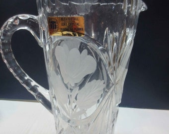 Whole Shop on Sale Stunning Vintage German Lead Cut Crystal Pitcher, 24% PbO, Tritschler Winterhalder