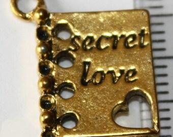 "5 pcs Charm ""secret love"" 19 mm antique gold, jewelry findings"
