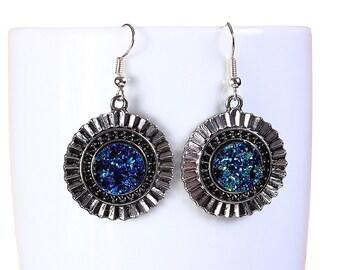 Antique silver turquoise blue green faux dusy dangle earrings - Faux Druzy earrings - Nickel free lead free earrings (793)