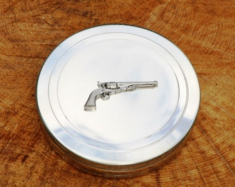 Classic Revolver Trinket Box English Pewter Ladies Gift