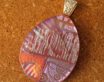 Pink Fused Glass Pendant - Dichroic Pendant - Glass Pendant - Glass Jewelry - Dichroic Jewelry - Teardrop Pendant