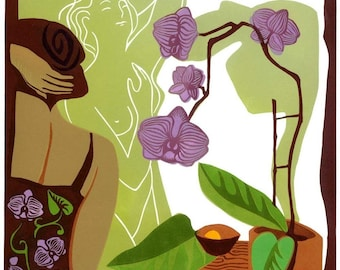 BLOOMING ORCHIDS linocut