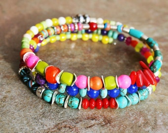 MEXICALI Turquoise, Coral, Jade, African Glass, Quartz and Sterling Bracelet