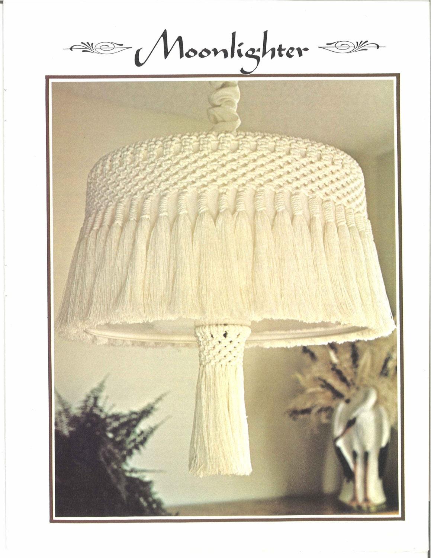 Moonlighter Macrame 1970s Lamp Art White Vintage Macramé