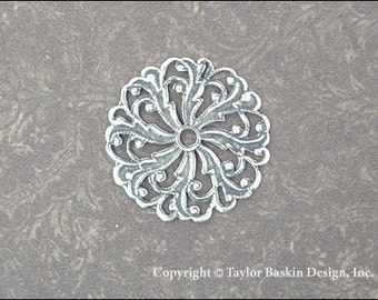 Antiqued Sterling Silver Plated Victorian Filigree Circle Component (item 306 AS) - 6 Pieces