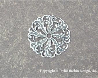 Antik Silber vergoldet viktorianischen filigranen Kreis Komponente (306 als) - 6 Stück