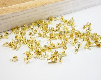 Gold Rhinestone Chain Cup Connectors, Crimp Connector, Jewelry Findings, 3mm