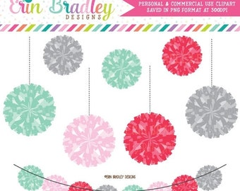80% OFF SALE Pom Pom Garland Clipart Graphics Personal & Commerical Use Digital Clipart Graphics Red Pink Aqua Gray Instant Download
