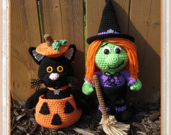 Halloween Chubbies Amigurumi (PDF file only, this is not the finished doll) Witch, Cat in a pumpkin