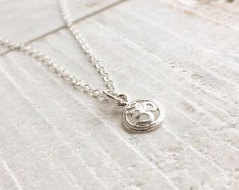 Sterling Silver Ohm Necklace, Tiny Ohm Yoga Necklace, OM necklace, Dainty Ohm Necklace, Sterling Silver Ohm Pendant Necklace, Everyday Wear