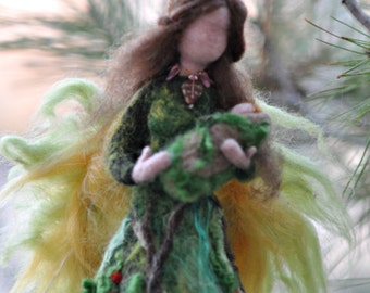 Needle felted Waldorf  doll. Forest Fairy .Made to order