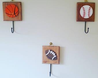 Sports Nursery Hooks, Sports Baby Room Decor, Basketball Football Soccer Kids room