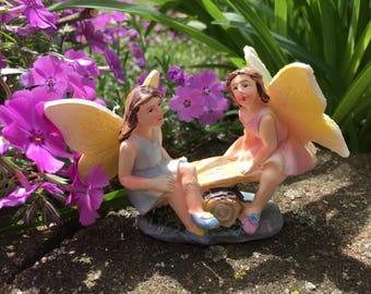 Miniature Fairy, Miniature Garden Fairy, Fairy Garden, Fairies Sitting on a Teetor Totter