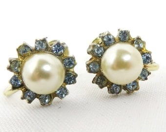 Vintage Faux Pearl Rhinestone Earrings, Silver Tone Screw Back Earrings Bridal Jewelry, Gift for Her
