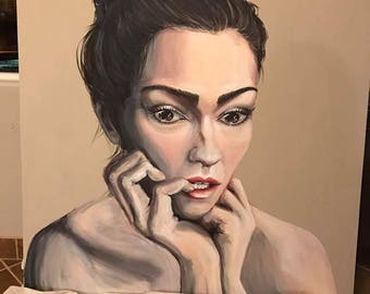 "SHELBY Huge Portrait Female Painting Art 54"" BY 54"""
