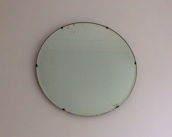 RESERVED FOR DENISE Vintage wall mirror bevelled edge round Art Deco 1930s Thirties large looking glass bevelled edge ref 0700]