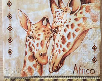 Set of 4 African Giraffe Square Paper Lunch Napkins Decoupage Crafts Collage #071
