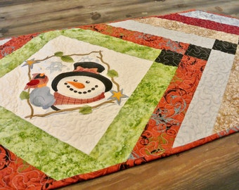 Snowman and Cardinal Quilted Tablerunner