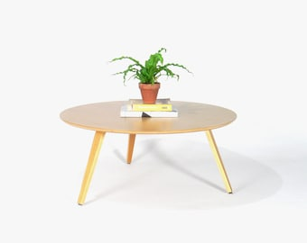 Mid Century Modern Eames Inspired Oak Plywood Round Coffee Table w/ Molded Tri-Legs
