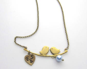Couple Birds in love, personalized with handstamped heart, Swarovski Pearl, Birthstones- - Antique Bronze Necklace
