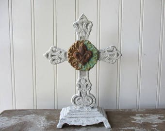 "Fleur de Lis Cast iron standing cross white cross antique style metal 8"" faux verdigris rust paperclay Religious Christian wedding decor W5"
