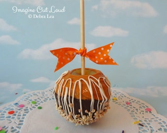 Faux Fake Realistic Caramel Apple with Nuts White Chocolate Home Decor Photo Prop