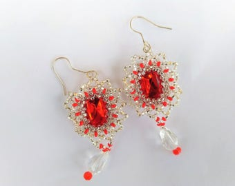 Red earrings long earrings crystals earrings elegant earrings wedding earrings daughter gift gift for girlfriend