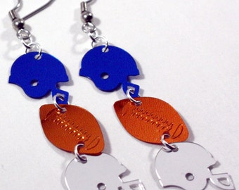 Football Helmet Earrings Blue & Silver Sports Team Dangles Plastic Sequin Jewelry