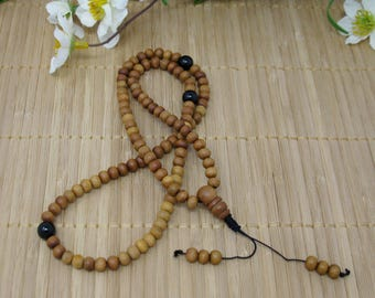 Mala, 108 Bead with Aromatic Sandalwood and Onyx