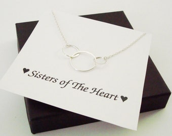 Large Triple Circle Infinity Silver Necklace~Personalized Jewelry Gift Card for Sister, Best Friend, Sister in Law, Bridal Party, Graduation