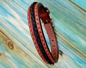 Horse Hair Leather Bracelet Hand Stitched - Horsehair Cuff