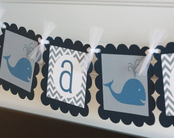"""Whale Navy White Grey Chevron """"It's a Boy"""" Nautical Baby Shower or Happy Birthday Banner - Free Ship Over 65.00"""
