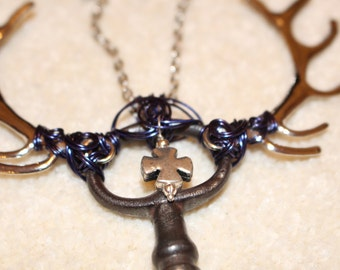 Blue Cross - Skeleton key wrapped in blue enamelled copper wire, with a cross charm, and tibetan silver stag antler charms