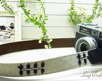 camera strap / Leaf Embroidery  Linen /  Black