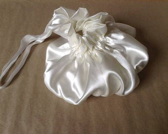 Satin white draw string pouch