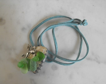 Sea Glass, Shell and Frog Pendant, Handmade, Sterling Silver Frog