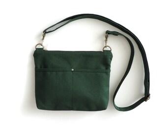 Canvas Crossbody Bag Small Zipper Bag Green