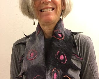 Black and Pink Felted Infinity Scarf