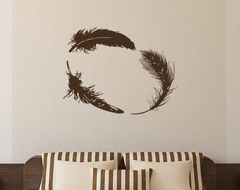Wall Decal Vinyl Sticker Decals Art Home Decor Design Mural Feather Bird Feathers Children Bedroom Dorm Nursery Kids Gift L572