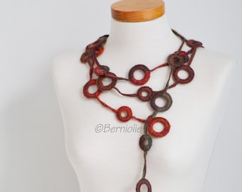 Crochet circle necklace, shades of brown and orange, N391